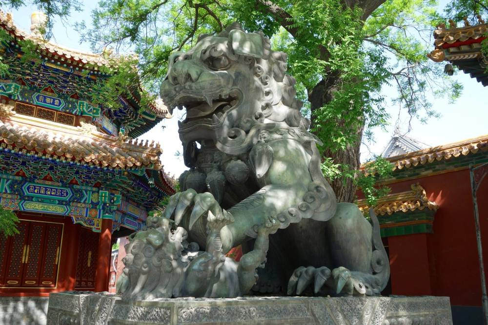Mythical stone lion statue at Lama Temple, in Beijing