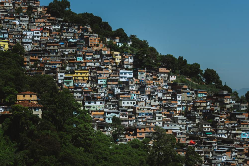 Photo of densely condensed houses in the Favelas of Brazil