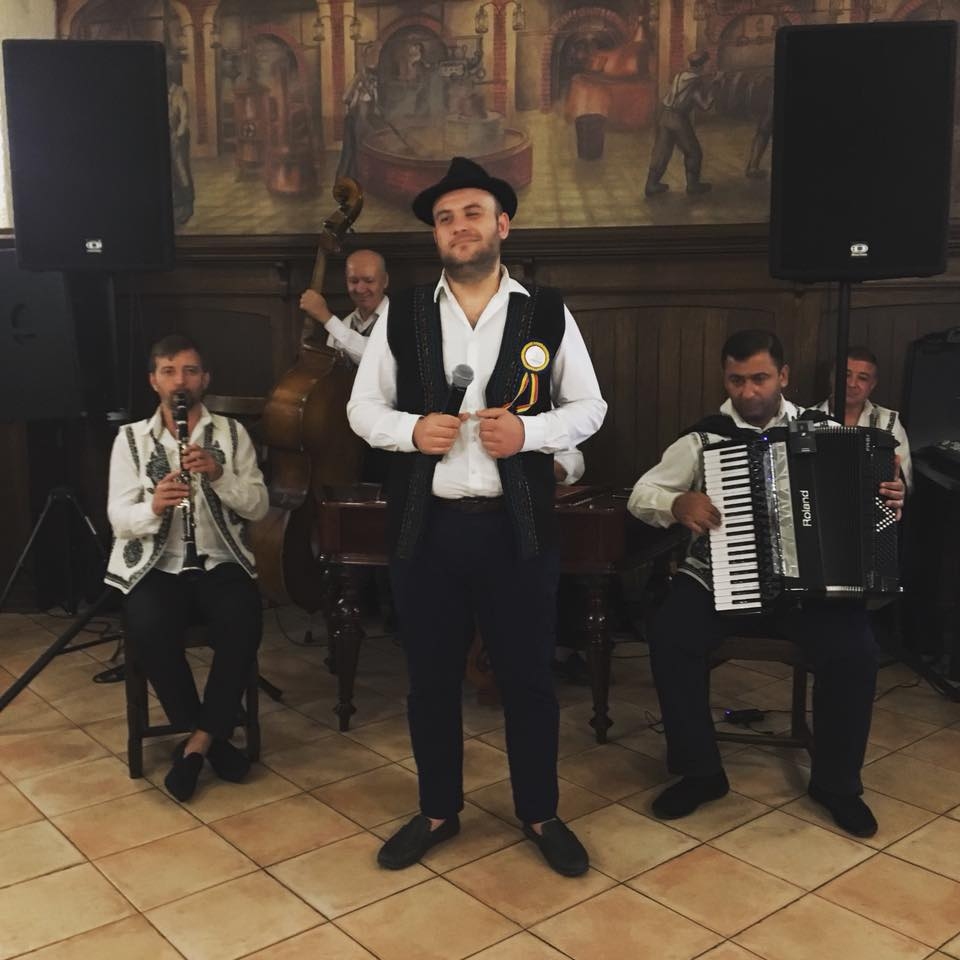 Traditional Romanian gypsy band playing in a restaurant in Bucharest