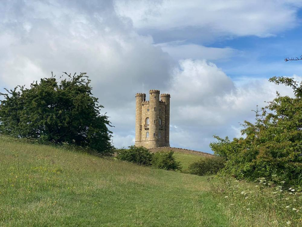 The Cotswold Way Path leading up to Broadway Tower which perched at the top of the hill.