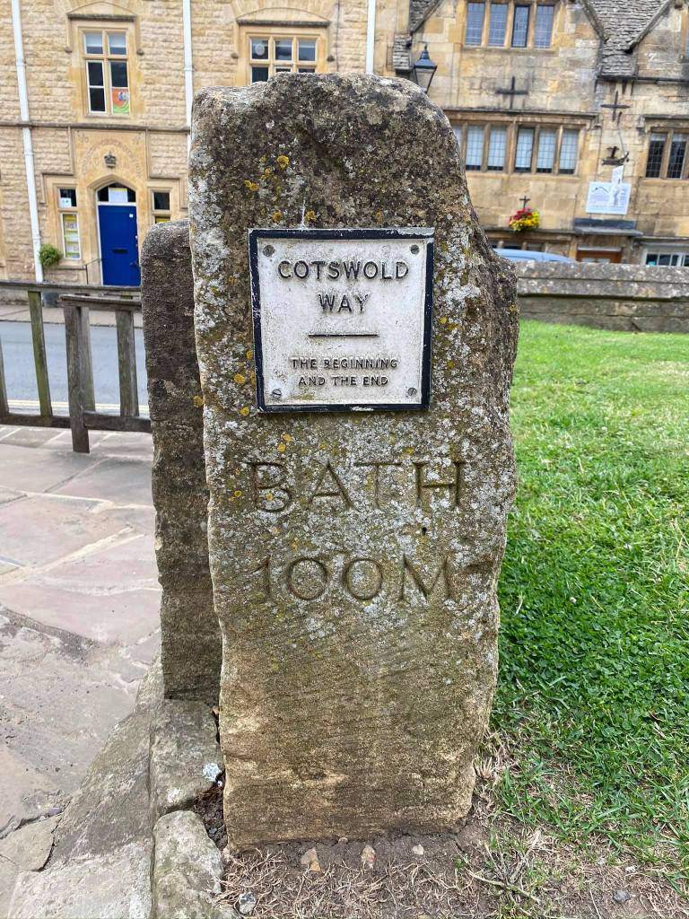Old Cotswold stone marking the start of the Cotswold Way - 100 miles to go!