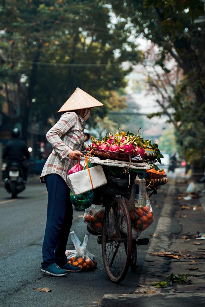 Hanoi Vietnam, this is where you come to see heavily loaded bikes carrying a days worth of fruit to sell