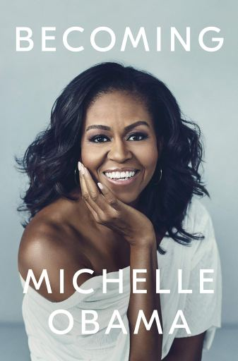 Book Cover for Becoming with a picture of a smiling Michelle Obama.