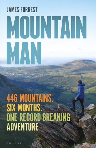Book cover for Mountain Man showing a man standing on a rocky protrusion admiring the views