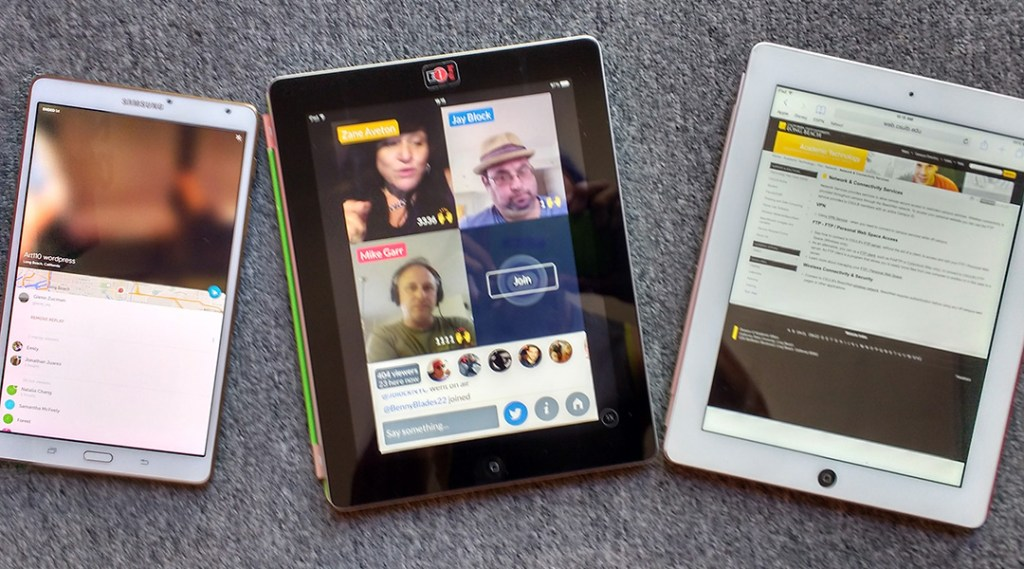 photo of 3 tablets, the first with an image of a Periscope broadcast, then a Blab broadcast, and finally a screencap of a CSULB BeachNet+ login info page