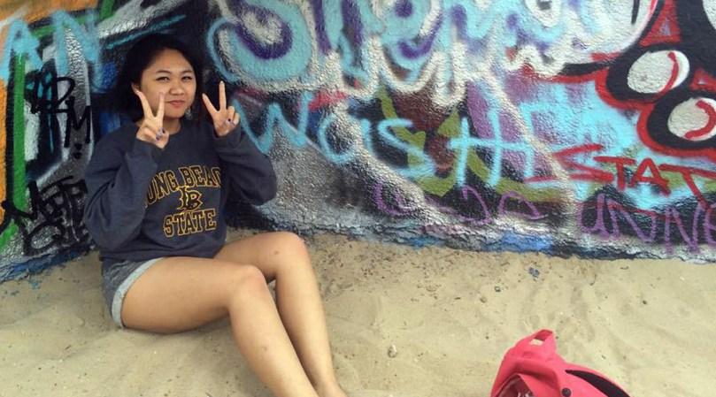 Sherri Mae Bersabe at the Venice Beach Artwalls