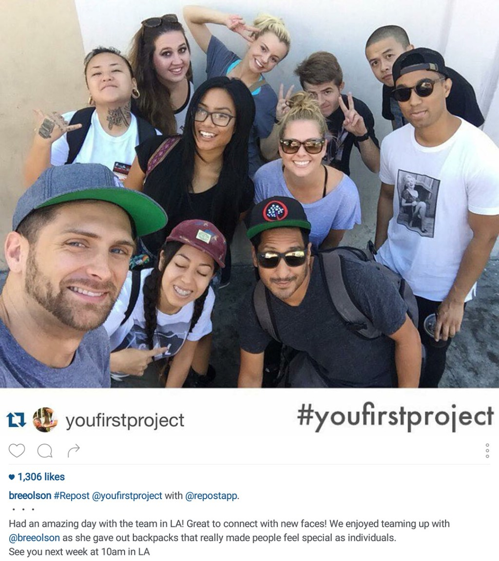 Instagram of a group of people out on a social good project