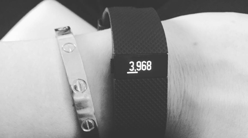 Bree Olson wearing a fitbit wristband