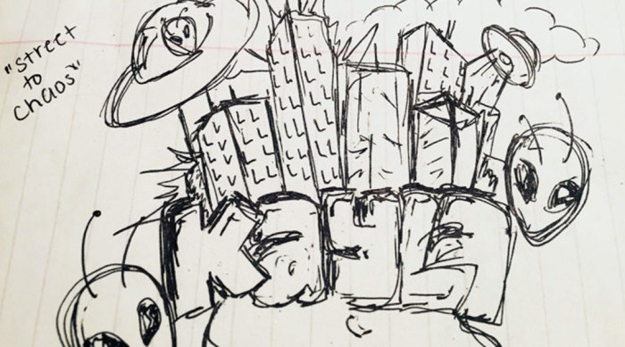 pen and ink sketch for a graffiti mural