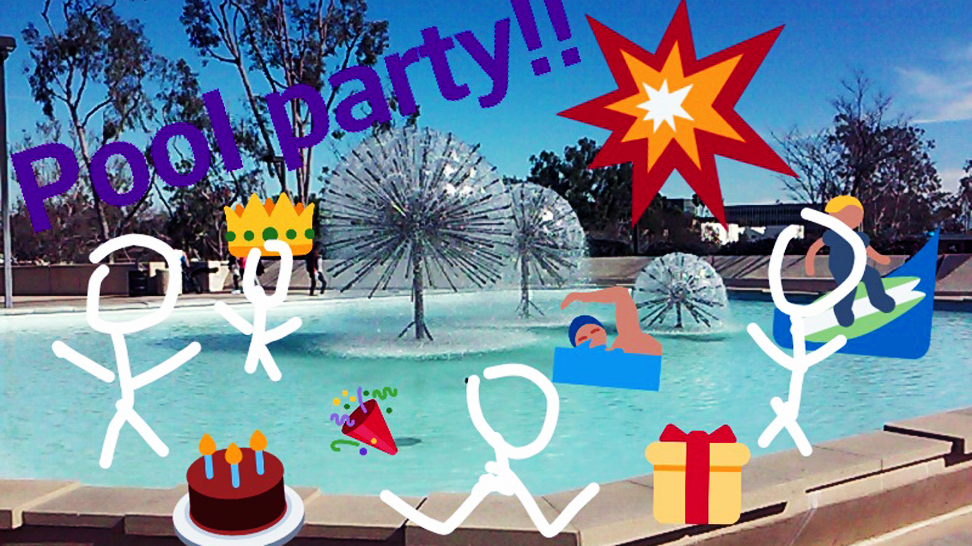 Snapchat drawing of the Brotman Hall fountain at CSULB as a pool party