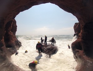 surfing into caves