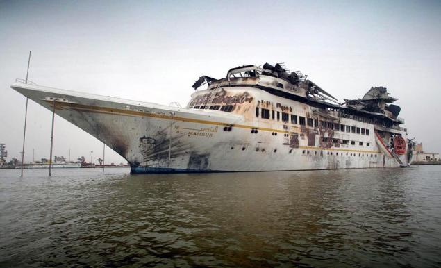as mansur, saddam husseins damaged private yacht
