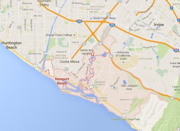 newport beach map