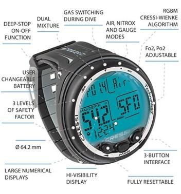 cressi giotto wrist watch dive computer