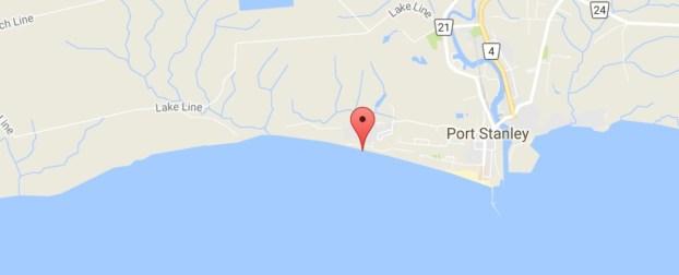 Erie Rest Beach Port Stanley map