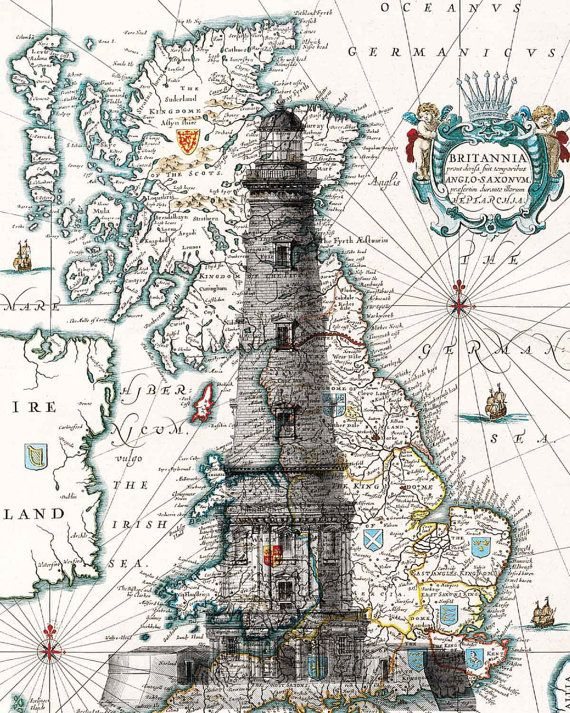 map with lighthouse