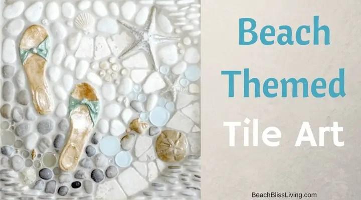 beach tile art for bathrooms and