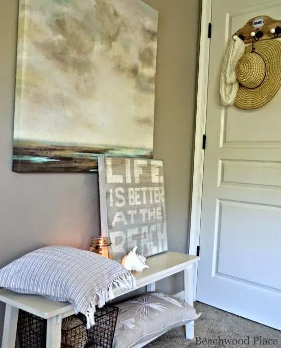 Beach Theme Guest Bedroom with DIY Wood Headboard Wall