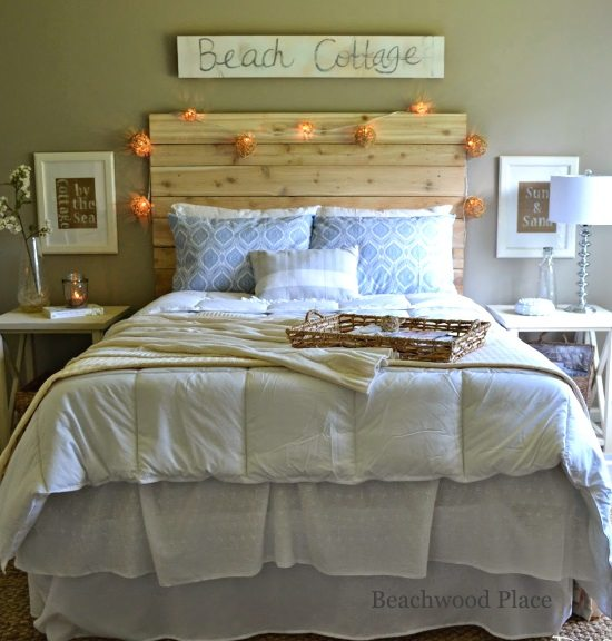 Beach Theme Guest Bedroom With DIY Wood Headboard, Wall