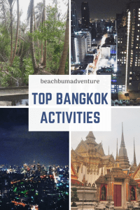 Pinterest graphic with pictures of Bangkok activities