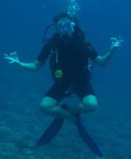 scuba diver waiting for thresher sharks in malapascua cebu philippines