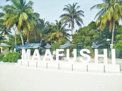 Maafushi welcome to the island sign