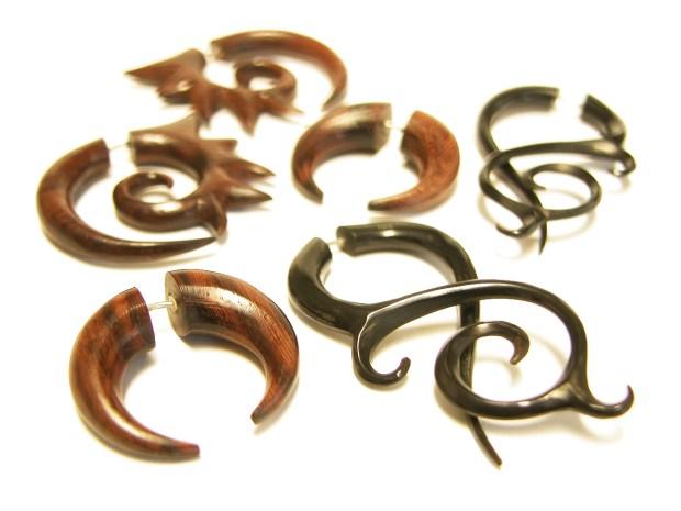 Wooden split expander fake taper earrings Orlando Florida