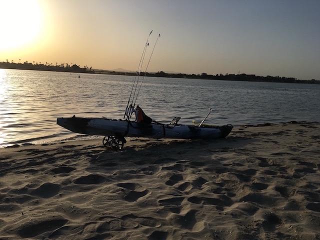 Mission Bay kayak on beach 4-15-18