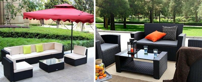 black wicker patio furniture black