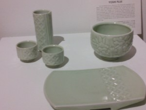 """Sake set with tray"" and ""Tea bowl, cherry blossom"" by Yoshi Fuji"