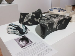 """Oceans in a Gourd pillow"", ""Moon Cycle pillow"", ""A Thousand Feathers pillow"" by Yoko Sekino-Bove"