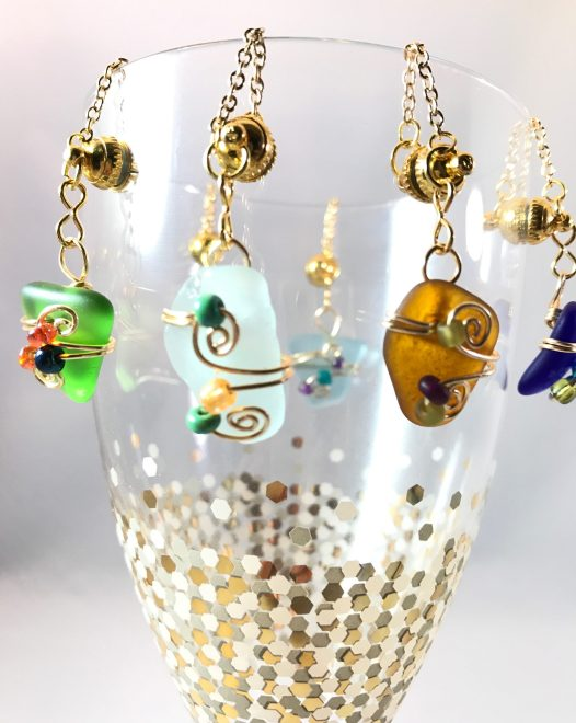 Wine Charm sets, gold plated