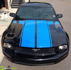 Blue Vinyl Striping on Mustang