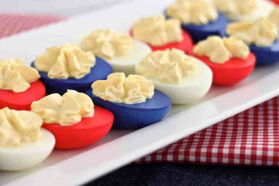 4th of July Appetizers - Red White And Blue Deviled Eggs