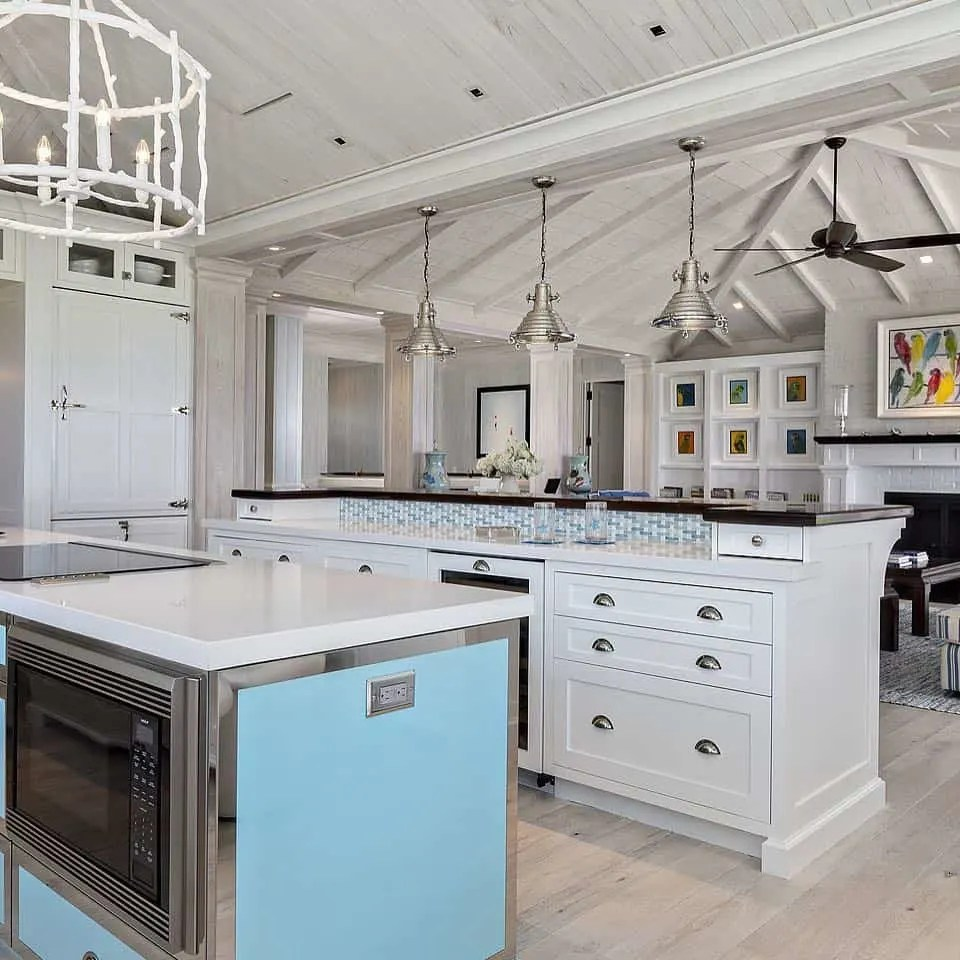 Beach House Kitchen Ideas - Blue White Black Kitchen - Beach House Kitchens - Coastal Style Decor & Design