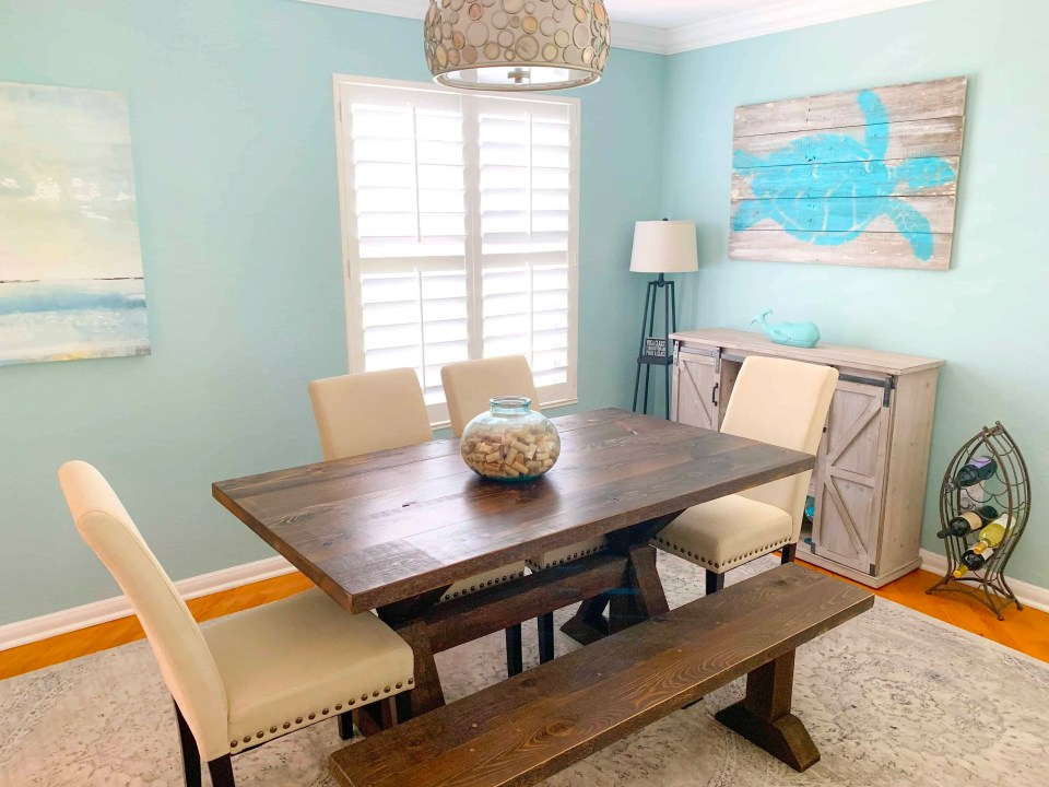 How To Create A Beach Style Dining Room - Coastal Blues Dining Room - AFTER