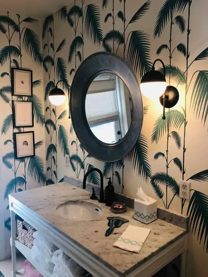 Bohemian Elegant Luxury Paradise AirBnb Beach House Decor - guest bathroom with palm tree print wallpaper
