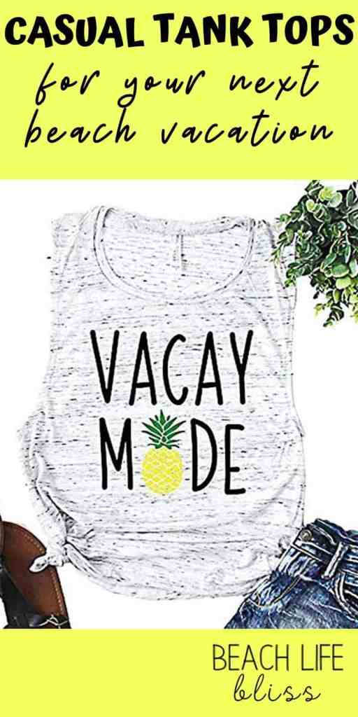 Best Beach Vacation Tank Tops For Women - Casual Tank Tops For Your Next Beach Vacation - Hola Beaches, Vacay Mode, Sunrise Sunburn Sunset Repeat, Palm Trees