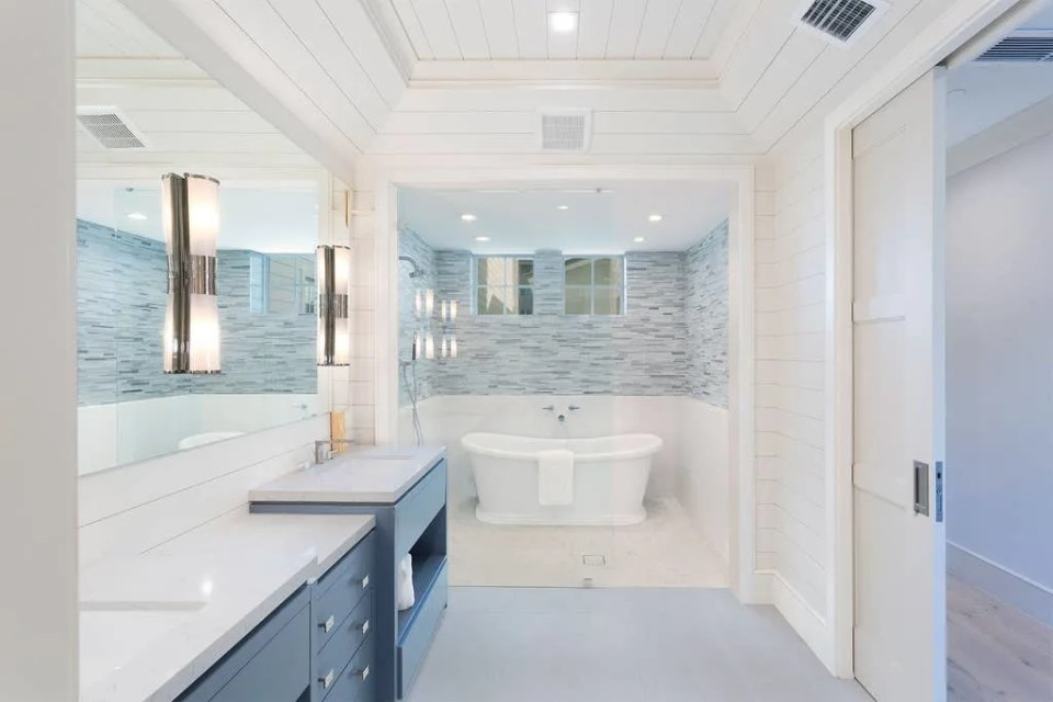 Island Contemporary - Beach House Tour - Beach House Coastal Decor Ideas - Air Bnb in Delray Beach Florida - Master Bathroom