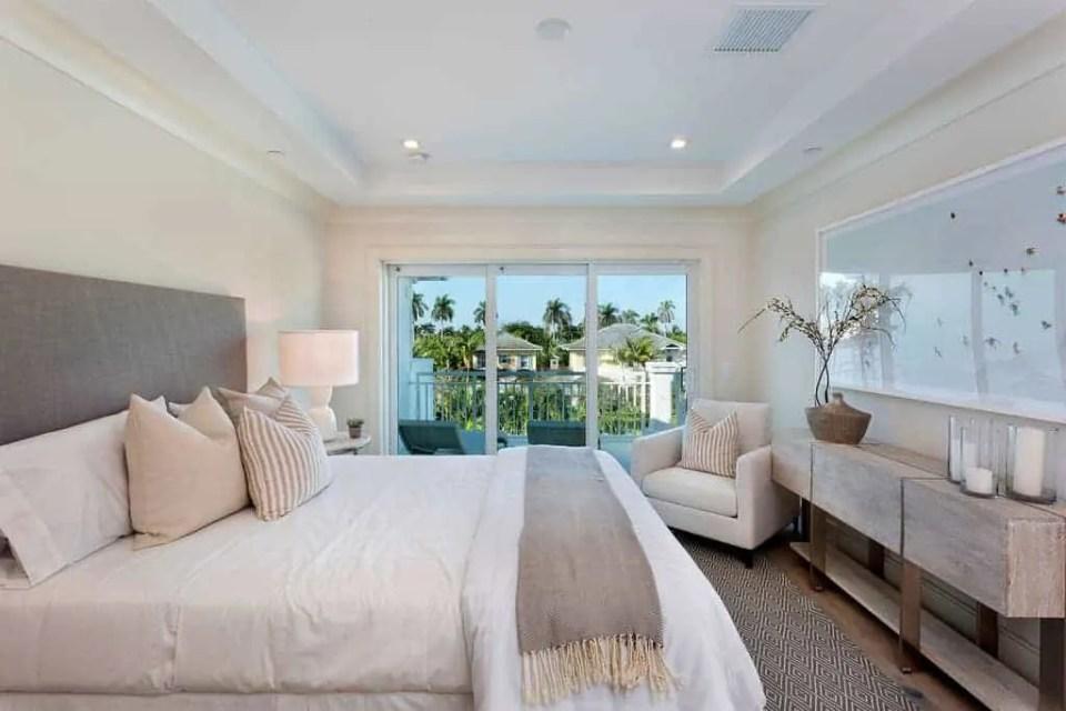 Island Contemporary - Beach House Tour - Beach House Coastal Decor Ideas - Air Bnb in Delray Beach Florida - Neutral Bedroom