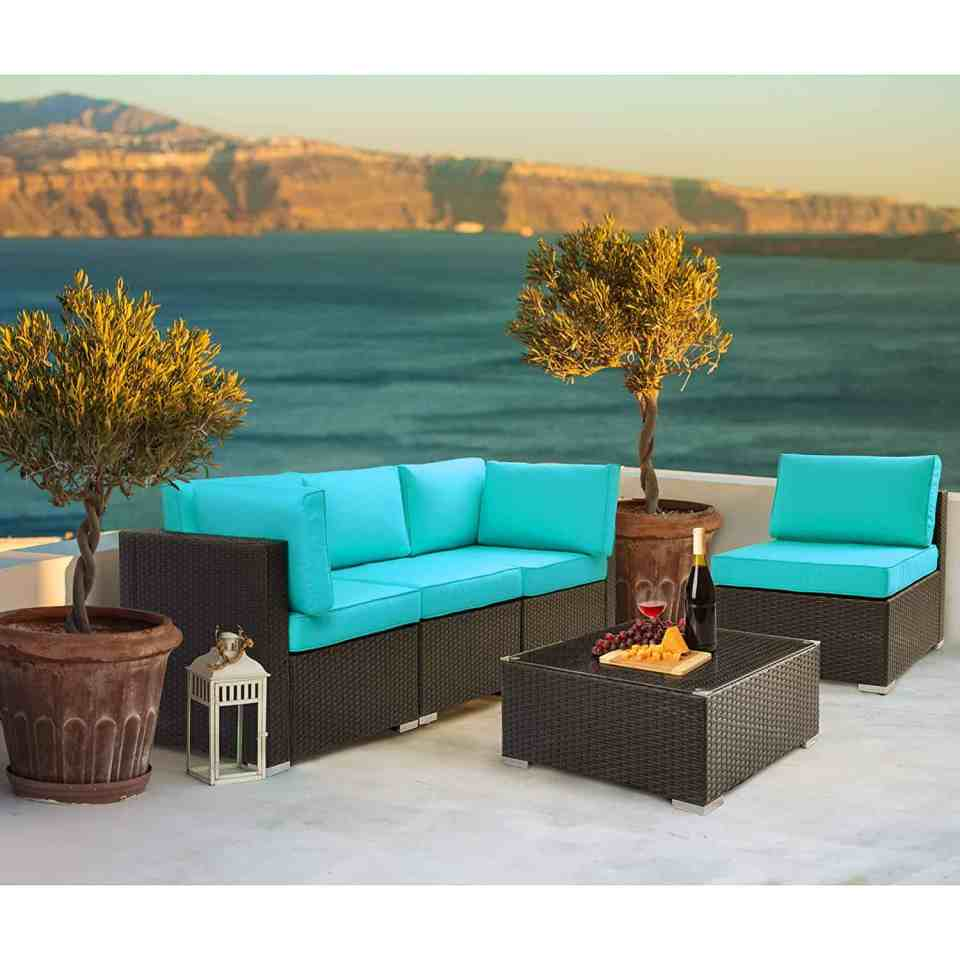 Beach House Outdoor Living Space Ideas - Teal couch cushions
