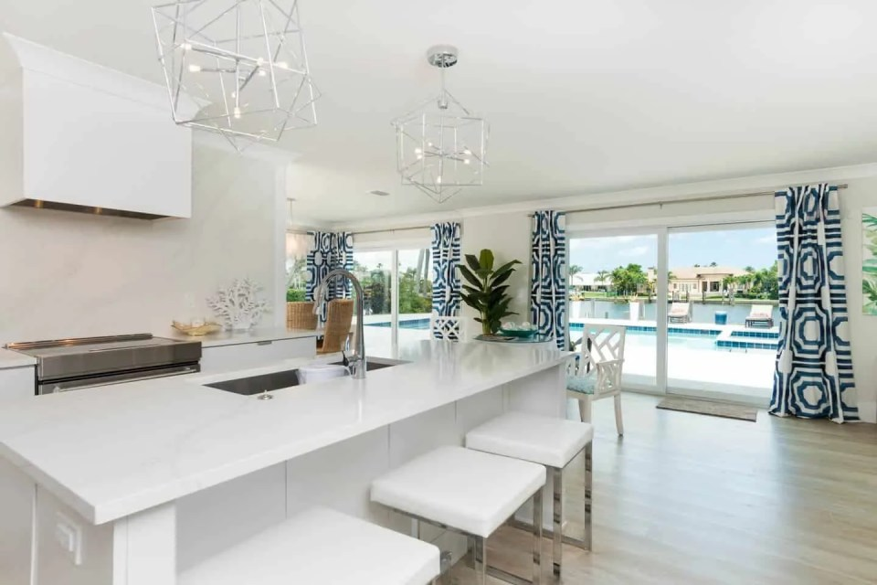 Coastal Modern White Kitchen Island