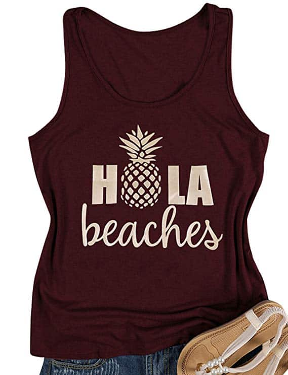 Hola Beaches Women's Tank Top - Best Beach Vacation Tank Tops For Women