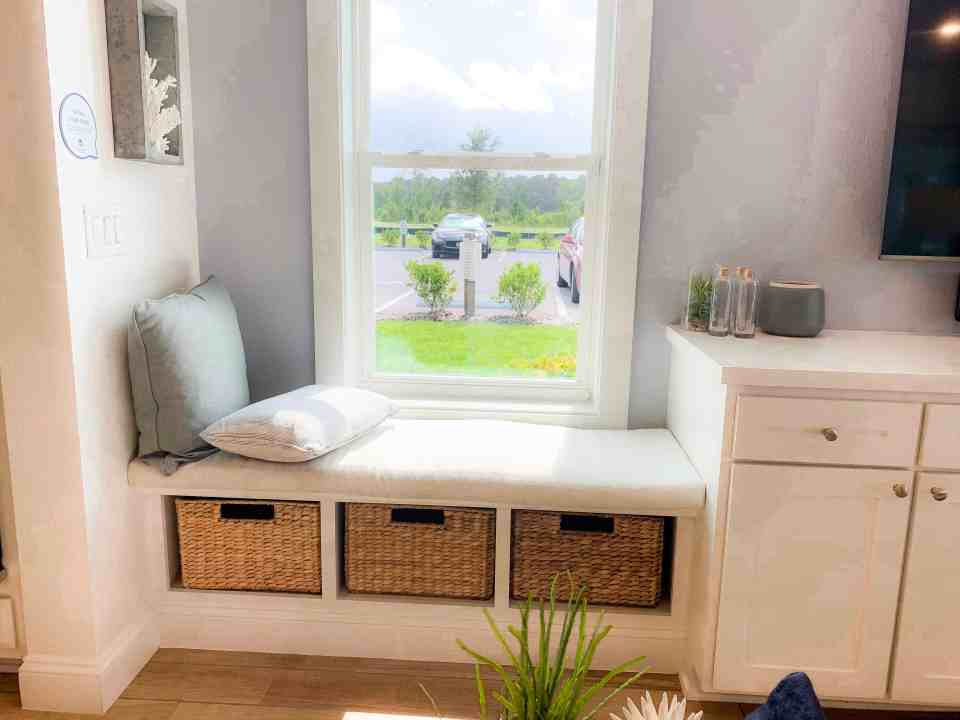 Beach Walk House Tour - Coastal Chic Design and Decor Ideas - built in bench with storage bins