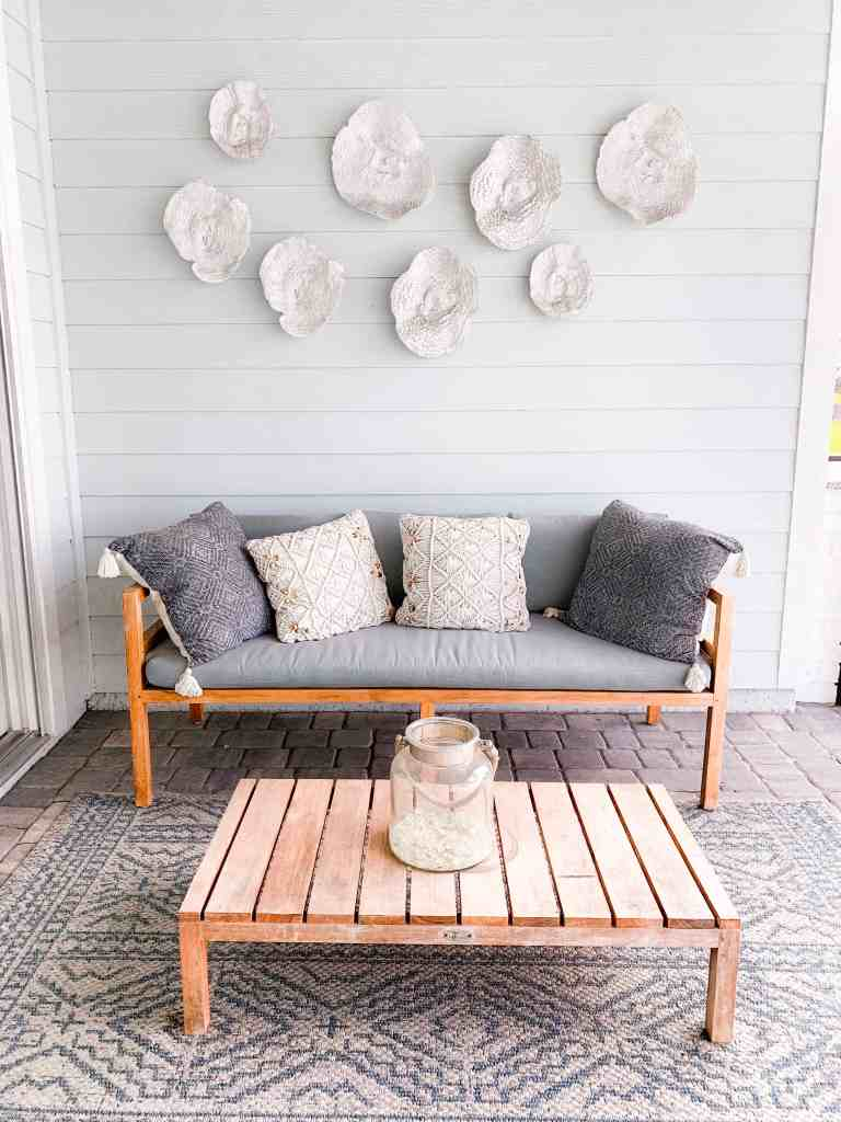 Beach Walk House Tour - Coastal Chic Design and Decor Ideas - Teak outdoor sectional