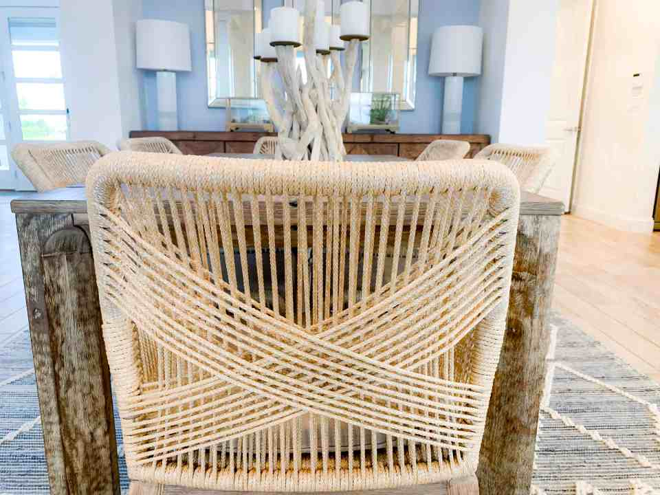 Beach Walk House Tour - Coastal Chic Design and Decor Ideas - wood wicker dining chair
