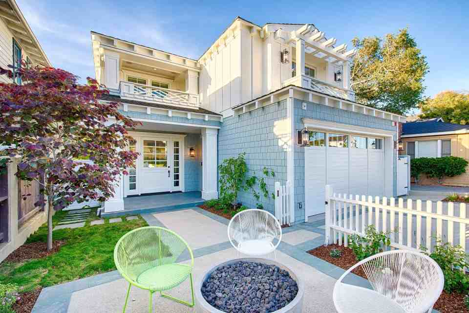 Blue Coastal Dream   Beach House Decor Ideas   Exterior with colorful seating