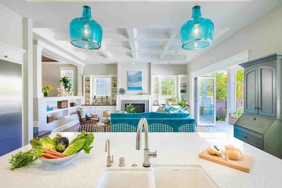 Blue Coastal Dream | Beach House Decor Ideas | Kitchen view into living room