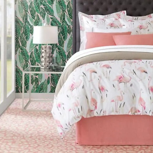 The Best Coastal Style Comforters For Your Beach House - Beach House Bedding Ideas - Flamingo Pink and White