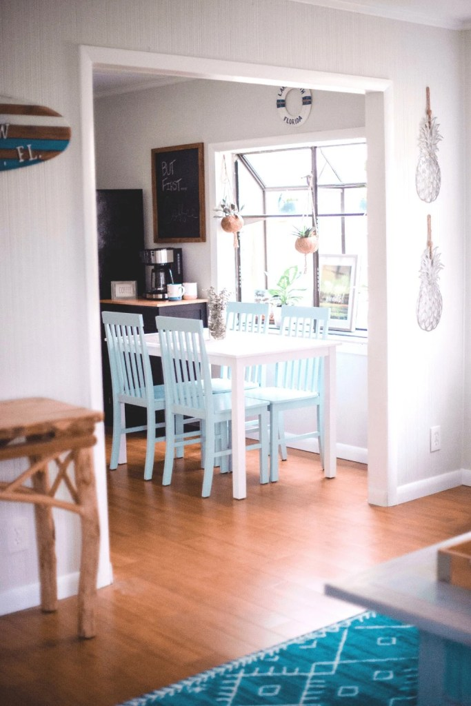 Beach Life Bungalow Kitchen After Photo - Coastal Vibrant Transformation - AirBnb Makeover